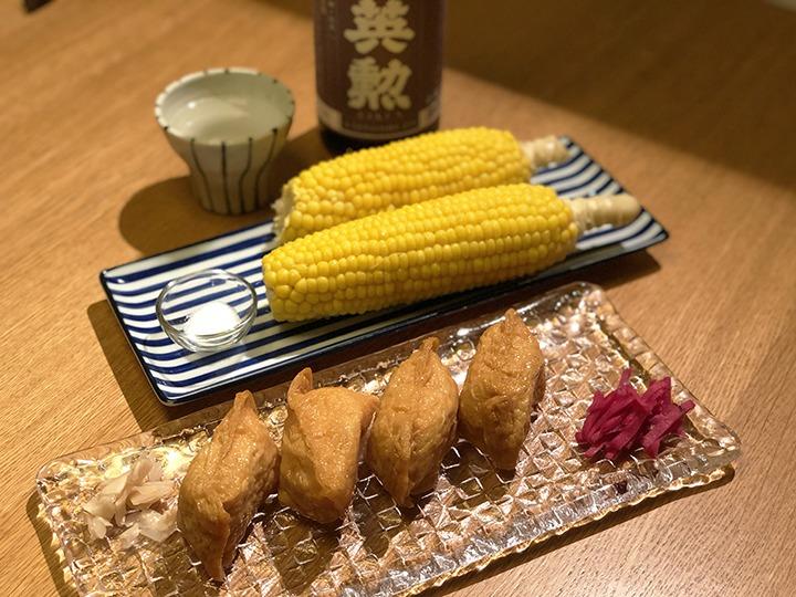 トウモロコシと稲荷ずし