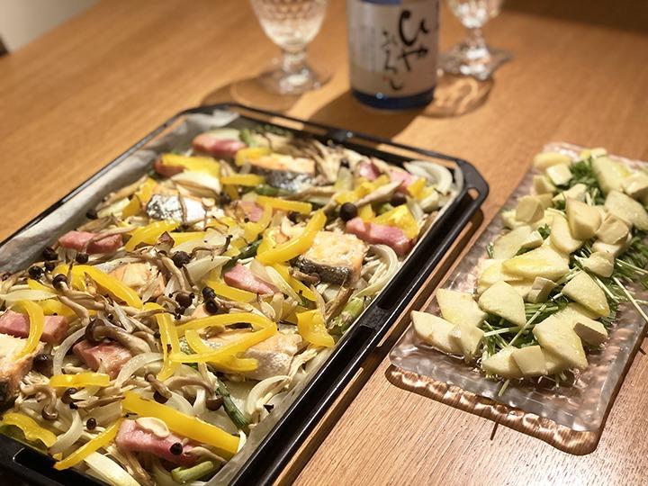 鮭と野菜を鉄板焼き